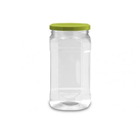 BARATTOLO PLASTICA VUOTO 1,02 lt in PET con coperchio bianco